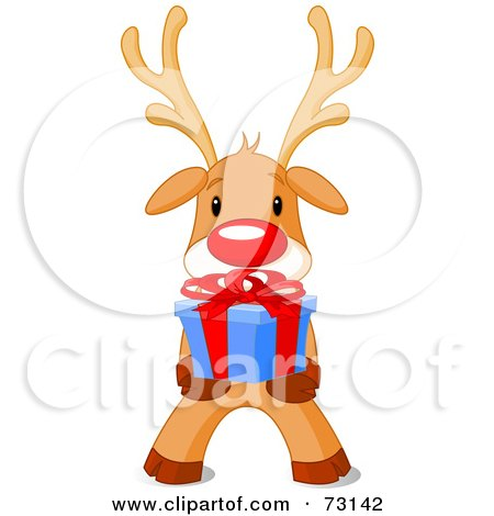 Royalty-Free (RF) Clipart Illustration of a Cute Rudolph The Red Nosed Reindeer Holding A Christmas Present by Pushkin