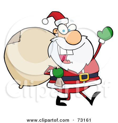 Royalty-Free (RF) Clipart Illustration Of A Jolly Christmas Santa Waving And Walking With His Toy Sack by Hit Toon