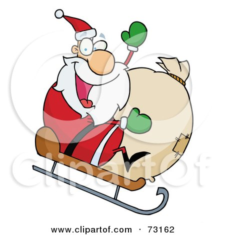 Royalty-Free (RF) Clipart Illustration Of A Jolly Christmas Santa Waving And Sledding With His Toy Sack by Hit Toon