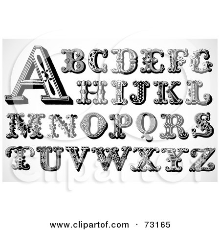Royalty-Free (RF) Clipart Illustration of a Digital Collage Of Black And White Circus Styled Letters; A Through Z by BestVector