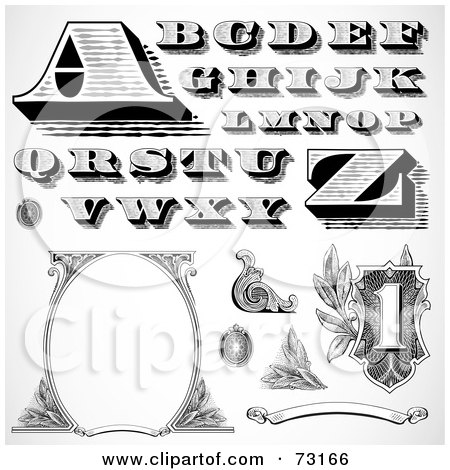 Royalty-Free (RF) Clipart Illustration of a Digital Collage Of Black And White Capital Money Styled Letters And Elements by BestVector