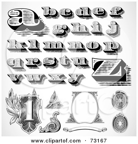 Royalty-Free (RF) Clipart Illustration of a Digital Collage Of Black And White Lowercase Money Styled Letters And Elements by BestVector