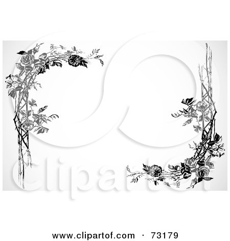 Royalty-Free (RF) Clipart Illustration of Black And White Rose ...