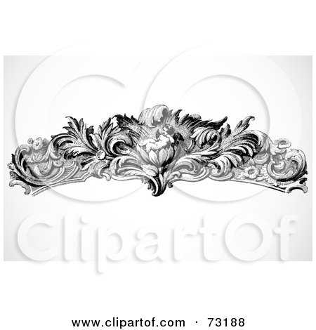 Royalty-Free (RF) Clipart Illustration of a Black And White Floral Cupid Border Design Element by BestVector