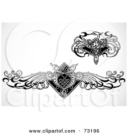 Royalty-Free (RF) Clipart Illustration of a Digital Collage Of Black And White Crane Design Elements by BestVector