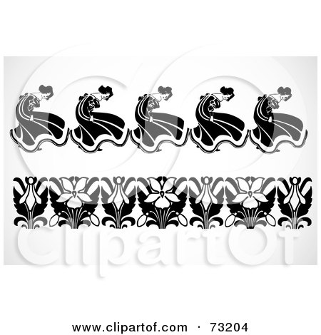 Royalty-Free (RF) Clipart Illustration of a Digital Collage Of Black And White Flower And Dancer Border Design Elements by BestVector