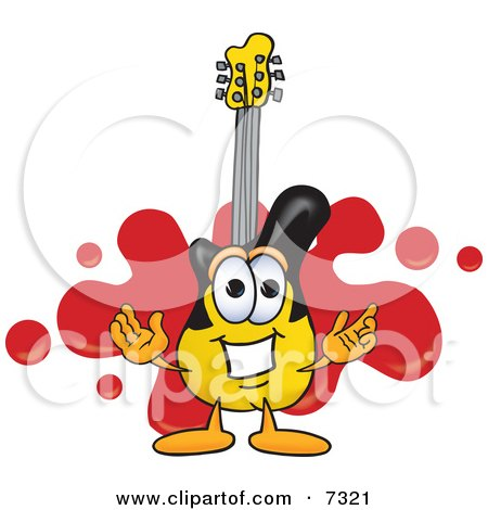 Clipart Picture of a Guitar Mascot Cartoon Character Logo With a Red Paint Splatter by Toons4Biz