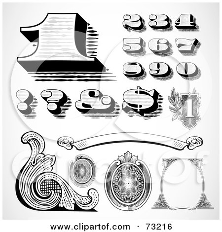 Royalty-Free (RF) Clipart Illustration of a Black And White Banknote Styled Numbers And Elements by BestVector