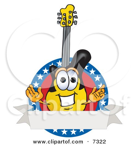 Clipart Picture of a Guitar Mascot Cartoon Character Logo With Stars and a Blank Label by Toons4Biz