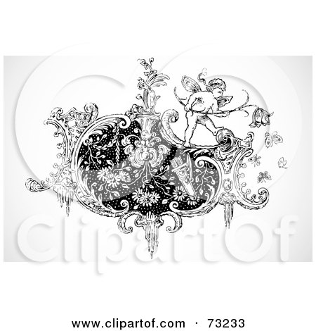 Royalty-Free (RF) Clipart Illustration of a Black And White Cupid On A Floral Design Element by BestVector