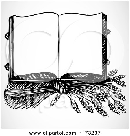 Royalty-Free (RF) Clipart Illustration of an Open Black And White Cook Book On Top Of Wheat by BestVector