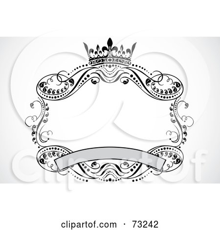 Royalty-Free (RF) Clipart Illustration of a Crown, Banner And Scroll Frame by BestVector