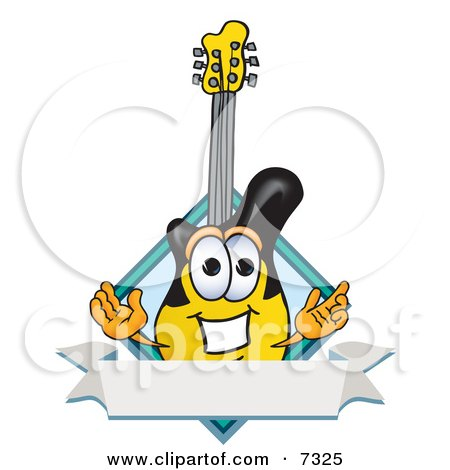Clipart Picture of a Guitar Mascot Cartoon Character With a Blank Label by Toons4Biz