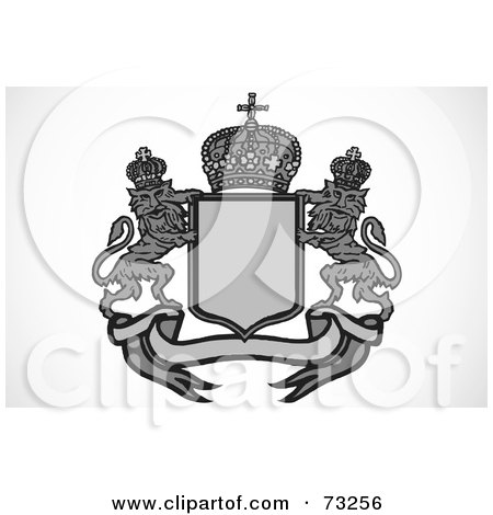 Royalty-Free (RF) Clipart Illustration of a Black And White Heraldic Lion Crest With A Shield, Crown And Banner - Version 1 by BestVector