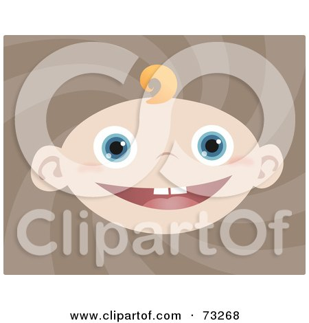 Royalty-Free (RF) Clipart Illustration of a Blue Eyed Baby Boy With A Single Blond Curl Of Hair by Qiun