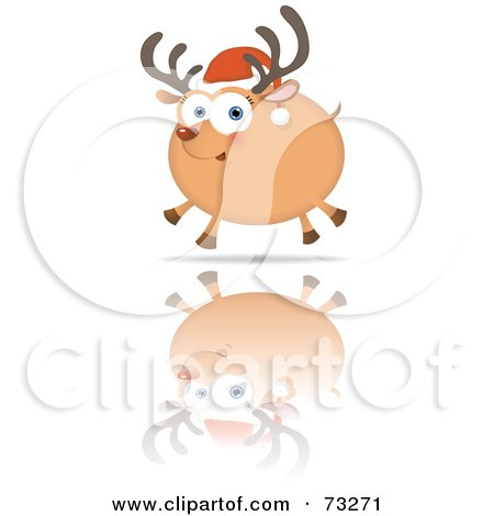 Royalty-Free (RF) Clipart Illustration of a Chubby Rudolph Reindeer Running On Reflective Ice by Qiun
