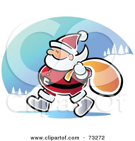 Royalty-Free (RF) Clipart Illustration of a Walking Santa With A Sack by Qiun