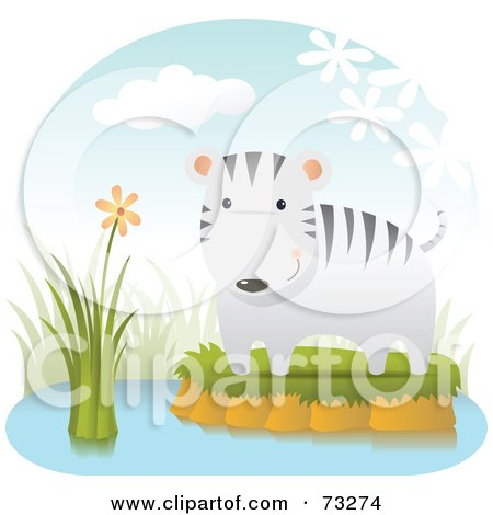 Royalty-Free (RF) Clipart Illustration of a Cute White Tiger Cat On An Island In A Pond by Qiun