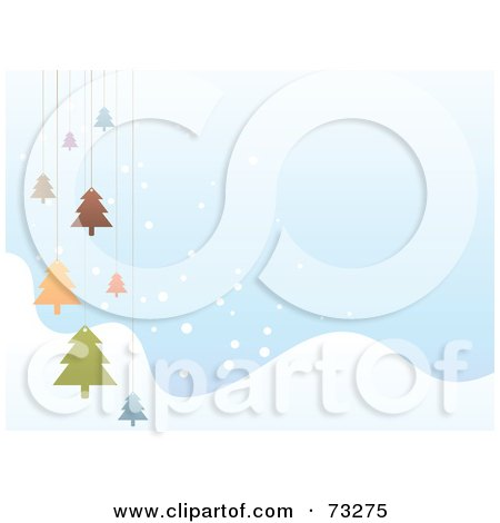 Royalty-Free (RF) Clipart Illustration of a Pastel Blue Winter Background With Snowy Hills And Hanging Christmas Trees by Qiun