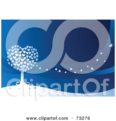 Royalty-Free (RF) Clipart Illustration of a White Heart Tree With Hearts Floating In The Breeze Over Blue by Qiun