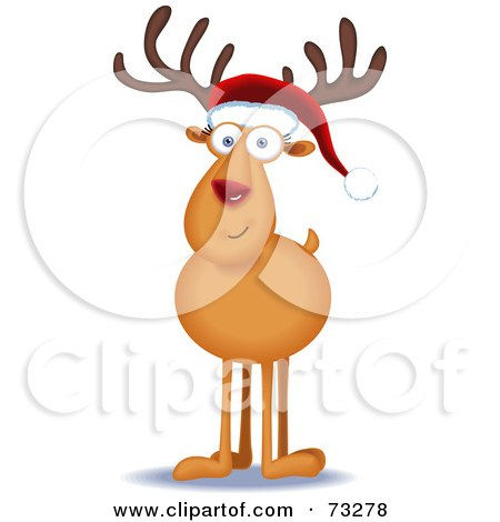 Royalty-Free (RF) Clipart Illustration of a Friendly Rudolph Reindeer Facing Front And Wearing A Santa Hat by Qiun