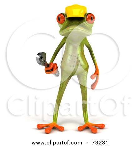 Royalty-Free (RF) Clipart Illustration of a 3d Green Tree Frog Contractor Wearing A Hard Hat And Holding A Wrench - Version 1 by Julos