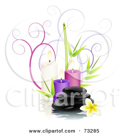 Royalty-Free (RF) Clipart Illustration of Black Shiny Spa Stones With Frangipani Flowers, Bamboo, Candles And Spirals Over White by Oligo