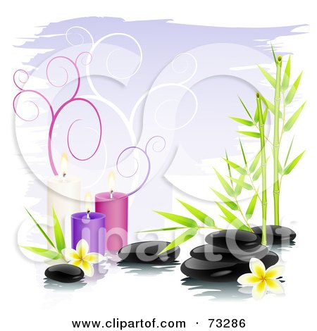 Royalty-Free (RF) Clipart Illustration of a Black Shiny Spa Stones With Bamboo, Frangipani Flowers And Colorful Candles Over Purple With Spirals by Oligo