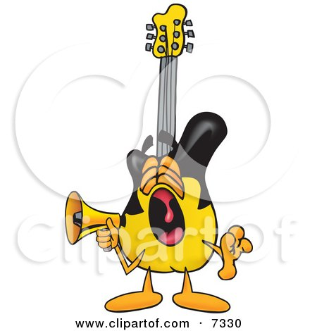 Clipart Picture of a Guitar Mascot Cartoon Character Screaming Into a Megaphone by Toons4Biz