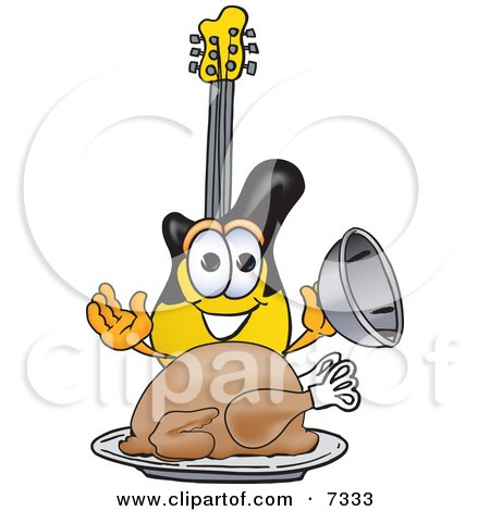 Clipart Picture of a Guitar Mascot Cartoon Character Serving a Thanksgiving Turkey on a Platter by Toons4Biz