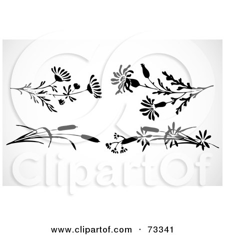 Royalty-Free (RF) Clipart Illustration of a Digital Collage Of Black And White Flowers And Reeds by BestVector