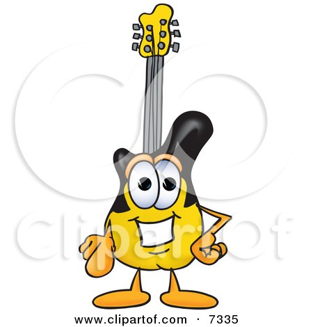 Clipart Picture of a Guitar Mascot Cartoon Character Pointing at the Viewer by Toons4Biz