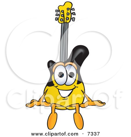 Clipart Picture of a Guitar Mascot Cartoon Character Sitting by Toons4Biz