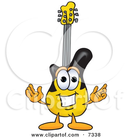 Clipart Picture of a Guitar Mascot Cartoon Character With Welcoming Open Arms by Toons4Biz