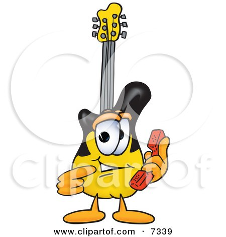 Clipart Picture of a Guitar Mascot Cartoon Character Holding a Telephone by Toons4Biz