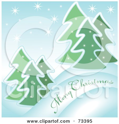 Royalty-Free (RF) Clipart Illustration of a Snowy Evergreen Merry Christmas Greeting by kaycee