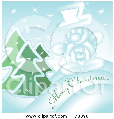 Royalty-Free (RF) Clipart Illustration of a Snowy Evergreen And Snowman Merry Christmas Greeting by kaycee