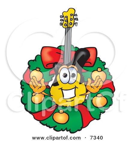 Clipart Picture of a Guitar Mascot Cartoon Character in the Center of a Christmas Wreath by Toons4Biz