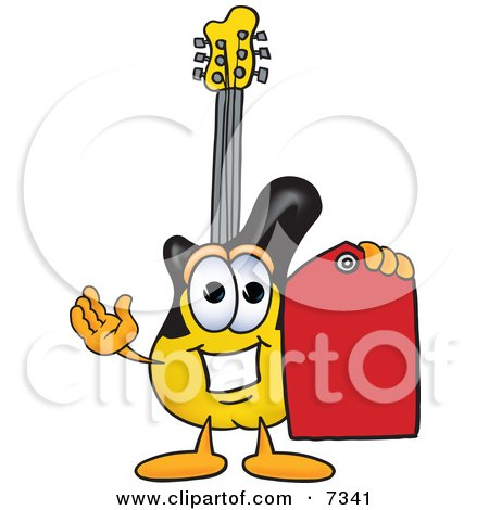 Clipart Picture of a Guitar Mascot Cartoon Character Holding a Red Sales Price Tag by Toons4Biz