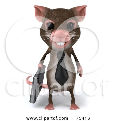 Royalty-Free (RF) Clipart Illustration of a 3d Mouse Character Businessman Carrying A Briefcase - Version 1 by Julos