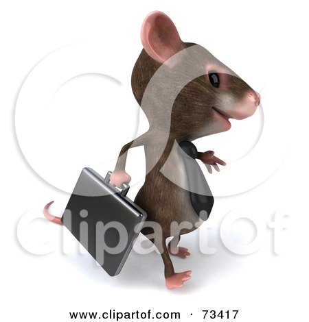 Royalty-Free (RF) Clipart Illustration of a 3d Mouse Character Businessman Carrying A Briefcase - Version 2 by Julos