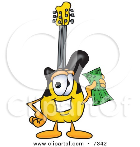 Clipart Picture of a Guitar Mascot Cartoon Character Holding a Dollar Bill by Toons4Biz