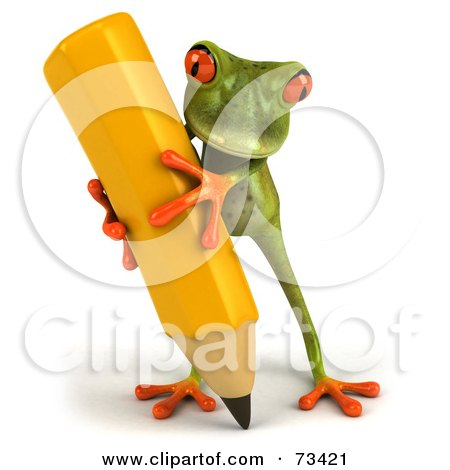 Royalty-Free (RF) Clipart Illustration of a 3d Green Tree Frog Carrying A Large Yellow Pencil - Version 2 by Julos