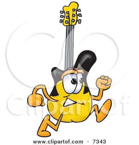 Clipart Picture of a Guitar Mascot Cartoon Character Running by Toons4Biz