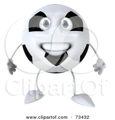 Royalty-Free (RF) Clipart Illustration of a 3d Soccer Ball Character Smiling And Facing Front by Julos