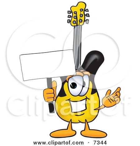 Clipart Picture of a Guitar Mascot Cartoon Character Holding a Blank Sign by Toons4Biz