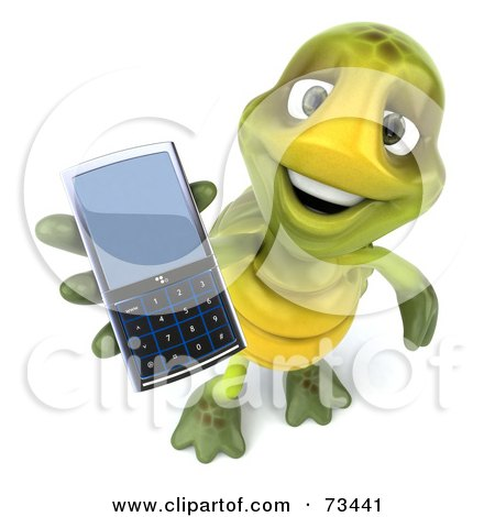 Royalty-Free (RF) Clipart Illustration of a 3d Green Tortoise Character Holding A Cell Phone by Julos