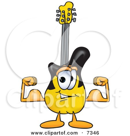 Clipart Picture of a Guitar Mascot Cartoon Character Flexing His Arm Muscles by Toons4Biz