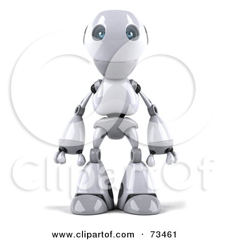 Royalty-Free (RF) Clipart Illustration of a 3d Robot Boy Character Standing And Facing Front by Julos