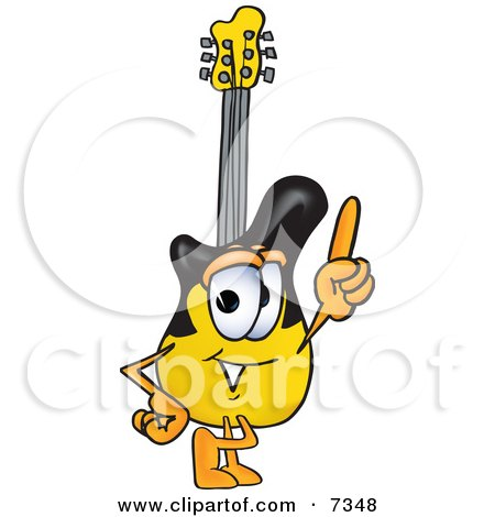 Clipart Picture of a Guitar Mascot Cartoon Character Pointing Upwards by Toons4Biz